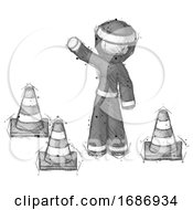 Sketch Ninja Warrior Man Standing By Traffic Cones Waving