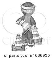 Poster, Art Print Of Sketch Ninja Warrior Man Holding A Traffic Cone
