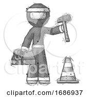 Sketch Ninja Warrior Man Under Construction Concept Traffic Cone And Tools