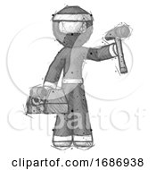 Sketch Ninja Warrior Man Holding Tools And Toolchest Ready To Work