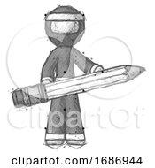 Poster, Art Print Of Sketch Ninja Warrior Man Writer Or Blogger Holding Large Pencil