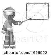 Sketch Ninja Warrior Man Giving Presentation In Front Of Dry Erase Board
