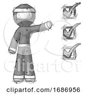 Sketch Ninja Warrior Man Standing By List Of Checkmarks