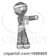 Sketch Ninja Warrior Man Presenting Something To His Left