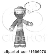 Sketch Ninja Warrior Man With Word Bubble Talking Chat Icon