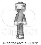 Sketch Ninja Warrior Man Walking Front View