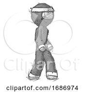 Sketch Ninja Warrior Man Walking Turned Right Front View