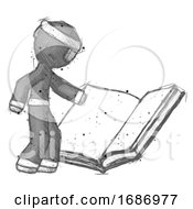 Poster, Art Print Of Sketch Ninja Warrior Man Reading Big Book While Standing Beside It