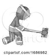 Sketch Ninja Warrior Man Hitting With Sledgehammer Or Smashing Something