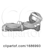 Sketch Ninja Warrior Man Reclined On Side