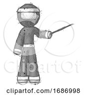 Sketch Ninja Warrior Man Teacher Or Conductor With Stick Or Baton Directing