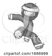 Sketch Ninja Warrior Man Action Hero Jump Pose