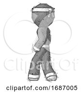 Sketch Ninja Warrior Man Walking Away Direction Left View by Leo Blanchette #COLLC1687005-0020