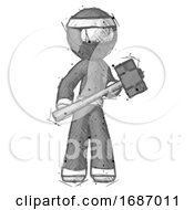 Sketch Ninja Warrior Man With Sledgehammer Standing Ready To Work Or Defend