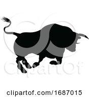 Charging Bull Silhouette