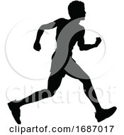 Poster, Art Print Of Runner Racing Track And Field Silhouette