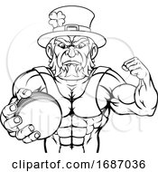 Leprechaun Holding Cricket Ball Sports Mascot
