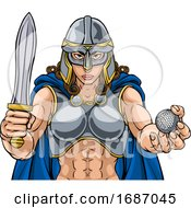 Viking Trojan Celtic Knight Golf Warrior Woman