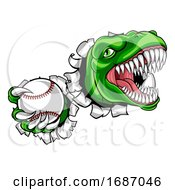 Dinosaur Baseball Player Animal Sports Mascot