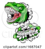 Poster, Art Print Of Dinosaur Gamer Video Game Controller Mascot