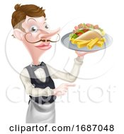 Cartoon Kebab And Chips Waiter Pointing