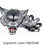 Wolf Ice Hockey Player Animal Sports Mascot