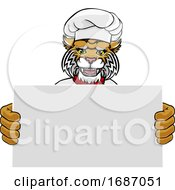 Wildcat Chef Cartoon Restaurant Mascot Sign by AtStockIllustration