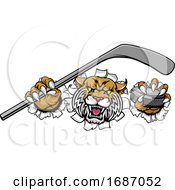 Wildcat Ice Hockey Player Animal Sports Mascot by AtStockIllustration