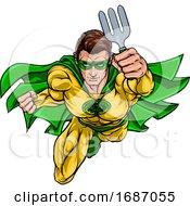 Poster, Art Print Of Super Gardener Superhero Holding Garden Fork