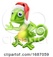 Chameleon At Christmas In Santa Hat Cartoon by AtStockIllustration