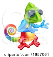 Chameleon Cool Cartoon Lizard In Shades Pointing by AtStockIllustration