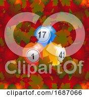 3D Bingo Lottery Balls Over Autumn Leafs Background