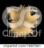 Gold Foil Splatter With White Frame On A Black Background