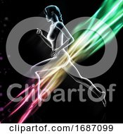 3D Female Figure Running With Colourful Light Waves