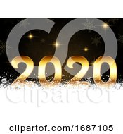 Happy New Year Background With Golden Numbers Nestled In Snow