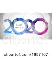 Happy New Year Banner With Cut Out Number Design