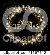 Christmas Background With Glitter And Snowflakes
