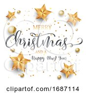 Christmas Background With Decorative Text Stars And Baubles