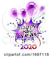 Happy New Year 2020 Greeting With Balloons