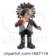 3d Cartoon Black African American Singer Entertainer Eating An Apple 3d Illustration