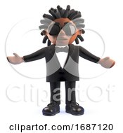 3d Cartoon Black African American Entertainer Singer With Arms Held Wide 3d Illustration