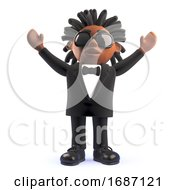 3d Cartoon Black African American Singer Entertainer With Arms Held High 3d Illustration