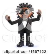 Cheering 3d Cartoon Black African American Singer Entertainer Cheering With Arms In The Air 3d Illustration
