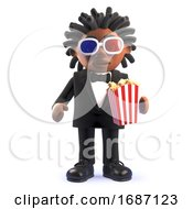 Poster, Art Print Of Cartoon 3d Black Afro American Singer Entertainer Eating Popcorn And Watching A Movie 3d Illustration