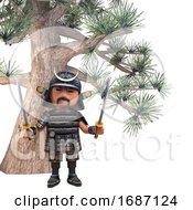 3d Cartoon Japanese Samurai Warrior With Two Katana Swords Under An Impossibly Huge Bonsai Tree 3d Illustration