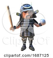 Cartoon 3d Samurai Warrior In Armour Playing With A Baseball Bat And Ball 3d Illustration