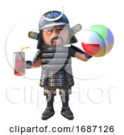 Cartoon 3d Samurau Warrion Character In Armour Drinking And Holding A Beach Ball 3d Illustration