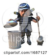 3d Cartoon Samurai Warrior In Armour Cleaning Litter With A Broom And Trash Can 3d Illustration