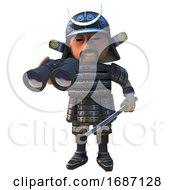 3d Cartoon Japanese Samurai Warrior In Armour Holding Sword And Using A Pair Of Binoculars 3d Illustration