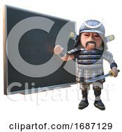 3d Cartoon Japanese Samurai Warrior In Full Armour Teaching At A Chalkboard Blackboard 3d Illustration